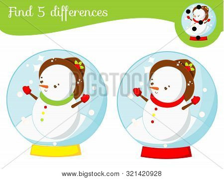Snowman In Glass Ball. Find The Differences Educational Children Game. Kids Activity Fun Page. Chris