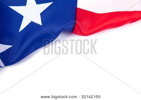 American Flag Over Blank Paper