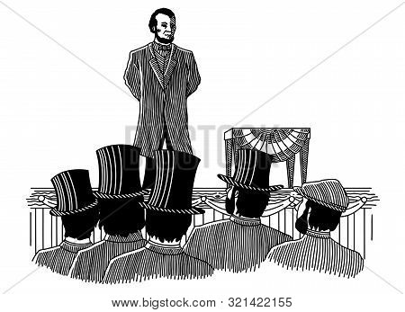 Illustration Of Abraham Lincoln Giving The Gettysburg Address In 1863.