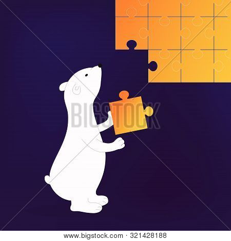 Isolated Cute Cartoon White Bear Solve A Business Problem. Animal With Puzzle Element. Fun Bear Thin