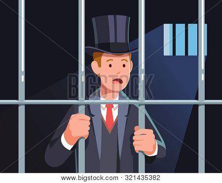 Imprisoned Business Man Criminal Standing In Jail