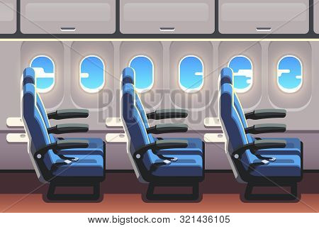 Economy Class Airliner Seats Row With Portholes