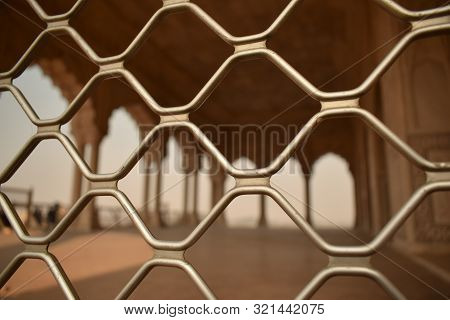 Abstract Background Of Mumbai Local Train Window, Blur View Of Railway Station From Local Train Wind