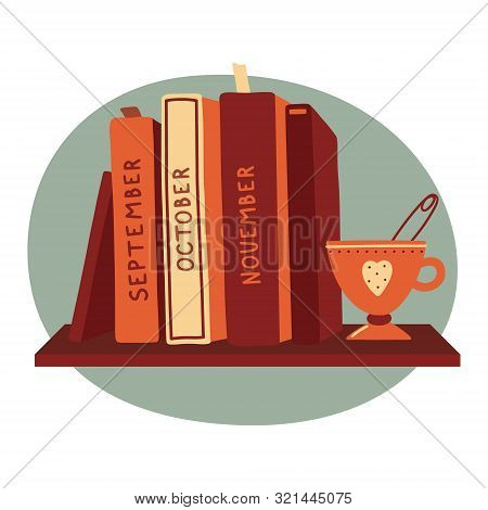 Hardcover Books Standing On A Shelf With A Cup Of Tea, Reading Club, Bookstore, Book Blog Logo Templ