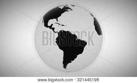 3d animation blurry black flashing points surround rotating black and white planet Earth globe model inrensively in grey background. Motion graph. Outer space rubbish concept. Sputnik groups.
