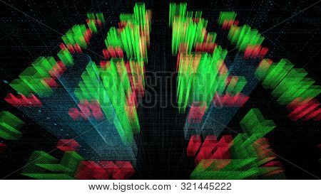 motion graph of blurry segmented green purple blue coloured voluminous figure growth in column shape with data marks in dark flashing squares background. 3d animation. Business and finance concept.