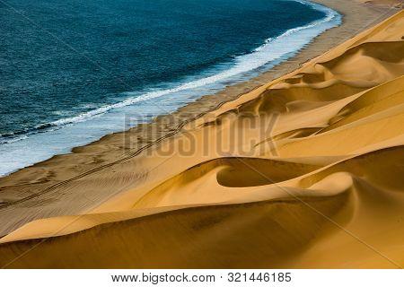 Wonderful Sand Dunes Near The Sea Coast. Namibia, Africa.