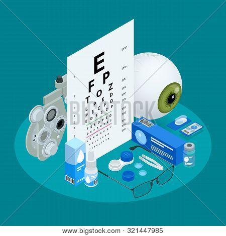 Isometric Set Of Ophthalmology And Eye Care Icons. Medical Helth Equipment. Check Eyesight For Eyegl