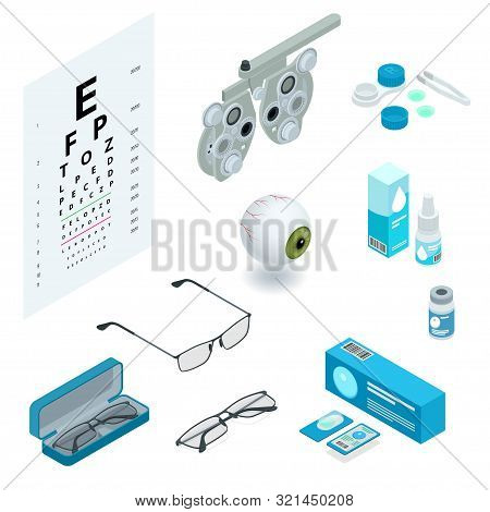 Isometric Set Of Ophthalmology And Eye Care Icons. Medical Health Equipment. Check Eyesight For Eyeg