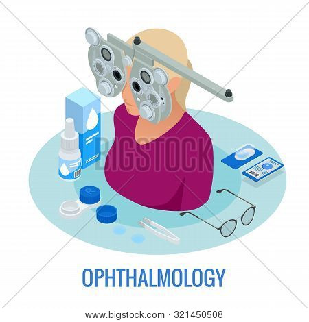 Isometric Optometrist Examining Woman With A Trial Frame In Ophthalmology Clinic. Modern Light Ophth