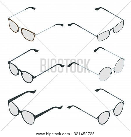 Isometric Glasses Isolated On White Background. Medical Health Equipment. Check Eyesight For Eyeglas