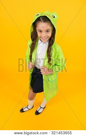 Cute Raincoat Kids Would Love. Frog Style. Schoolgirl Hooded Raincoat Enjoy Fall Weather. Rainproof