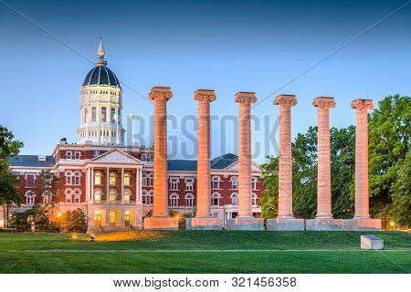 Columbia, Missouri, USA historic columns at twilight.