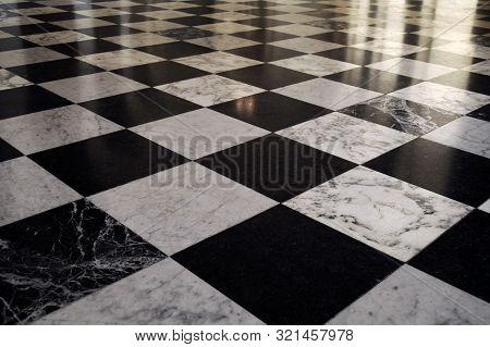 Black And White Chess Tile Floor Pattern