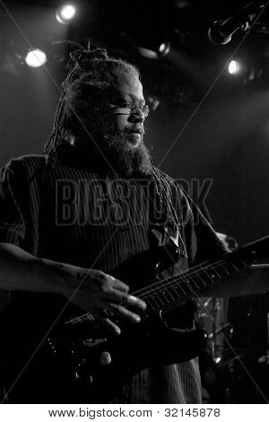 NEW YORK - APR 17: Guitarist Dr Know of Bad Brains performs at Irving Plaza on April 17, 2012 in New York City. The iconic East Coast punk band formed in Washington, D.C. in 1977.