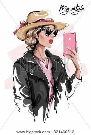 Hand Drawn Beautiful Young Woman In Sunglasses. Stylish Girl In Hat. Fashion Woman Making Selfie. Sk