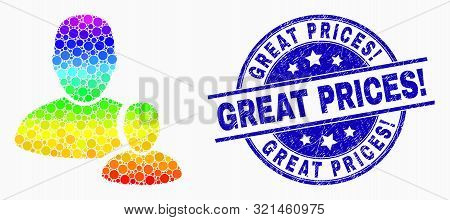Pixelated Bright Spectral User Manager Mosaic Pictogram And Great Prices Exclamation Seal Stamp. Blu
