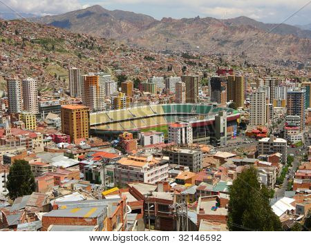 Viev stadium is Estadio Libertador Simon Bolivar in La Paz, Bolivia, from Killi Killi Viewpoint. This stadium is home Club Bolivar, football team from Bolivia, was founded in La Paz on April 12, 1925