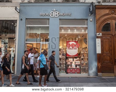 Lyon, France - July 13, 2019: Bijou Brigitte Logo In Front Of Their Store In Lyon. Bijou Brigitte Is
