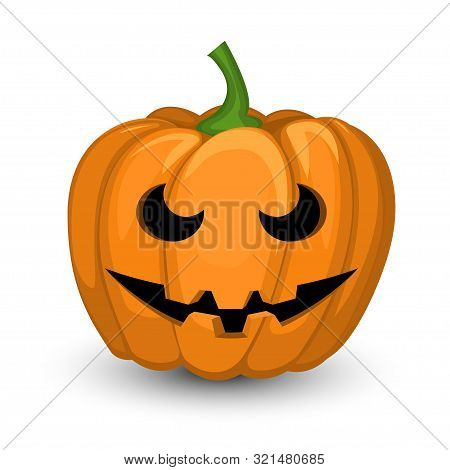 Halloween Pumpkin Jack With A Sinister Smirk. Isolated Vector Object