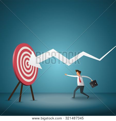 Business Objective And Strategy. Business Concept. Businessman Throwing Dart At Arrow. Symbol Of Bus