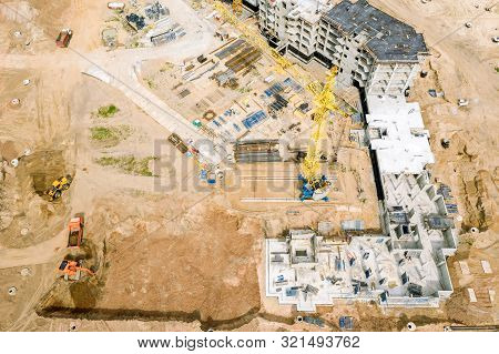 Aerial Image Of City Construction Site. Construction Of New Apartment Building