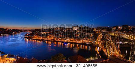 Porto, Portugal - September 8, 2019: Historic Center Of Porto In Portugal. Night View Of The City In