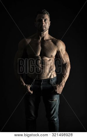 He Is A Natural Athlete. Sexy Athlete On Black Background. Handsome Man Showing Muscular Six Pack Ab