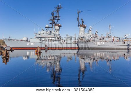 Wilhelmshaven, Germany - February 24, 2019: Battleship At The Marine Museum In Wilhelmshaven, German