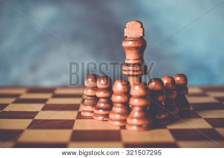 Bodyguards Security Concept With Chess King And Pawns That Protects Him On A Chess Board