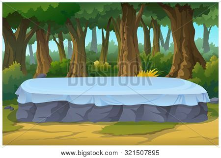Vector Illustration Of A Tree And Graphic Of Jungle.