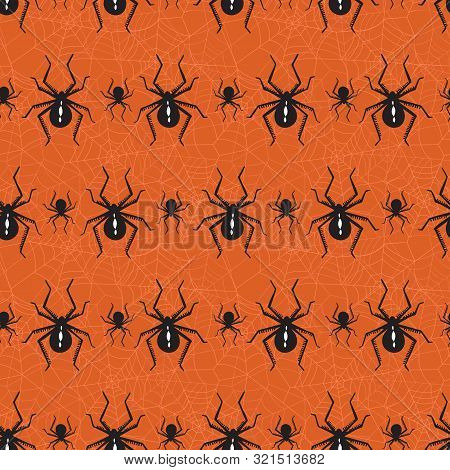 Halloween Vector Seamless Pattern With Black Widow Spiders And Spider Web On Orange Background. Eleg