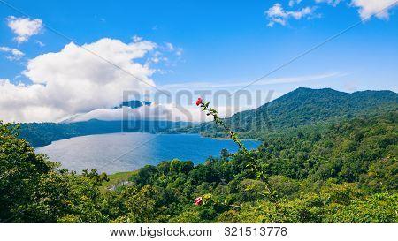 Beautiful View Of Danau Buyan Lake, Popular Tourist Place - Bedugul Village In Tropical Mountain Rai
