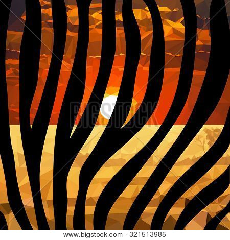 Zebra Print On The Background Of The Sunset In Africa, Vector Graphics, Savanna, Safari