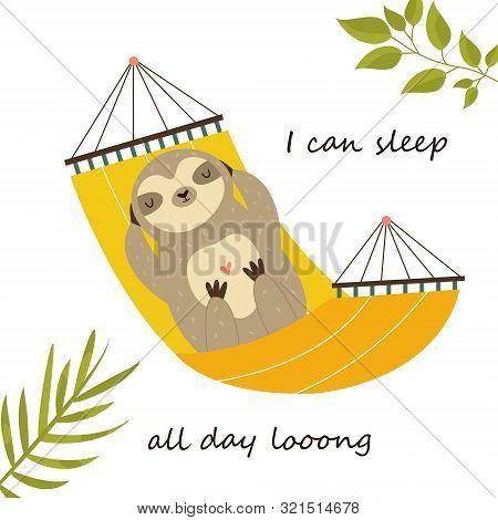 Sloth Having A Nap In A Hammock. Cute Character