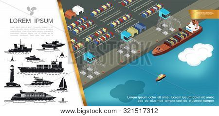 Flat Shipping Concept With Loading Of Containers On Cargo Ship At Seaport And Silhouettes Of Buoy Li