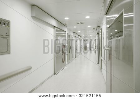 Hospital Operating Room Corridor. Health Center Medical Treatment. Medical Urgency