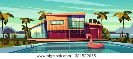 Luxury Villa On Coast, Foreign Residence In Exotic Country, Expensive Mansion In Tropics Cartoon Ill