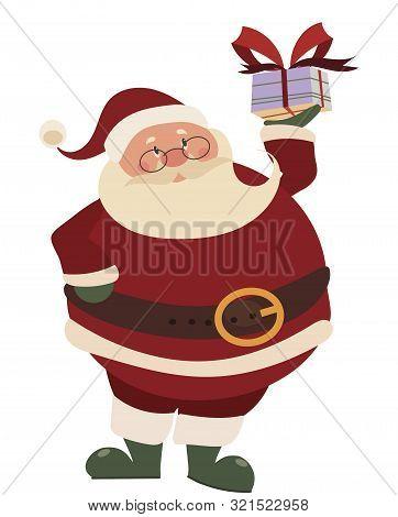 Cartoon Santa Claus With Gift. Christmas Illustration Of Santa With A Big Gift Box. Illustration Wit