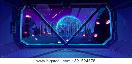 Spaceship View On Earth At Night From Alien Planet With Craters, Neon Space Background With Falling
