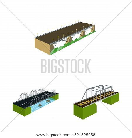 Vector Illustration Of Bridgework And Architecture Sign. Set Of Bridgework And Structure Stock Vecto