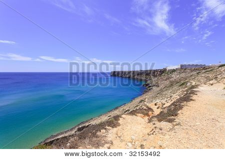 Sagres Point And Its Fortress. Algarve Southern Portugal, Mediterranean Europe.