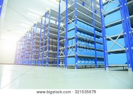 Factory Inside The Spare Room With Prepared Shelves For Storing Spare Parts, Spare Room, Spare Parts