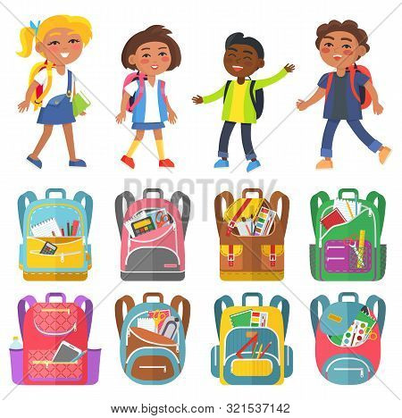 Pupils Characters With Backpack School Bag With Notebook And Pencil Paints And Tassels. Smiling Chil