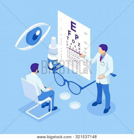 Isometric Medical Ophthalmologist Eyesight Check-up Concept. Medical Ophthalmologist Eyesight Check-