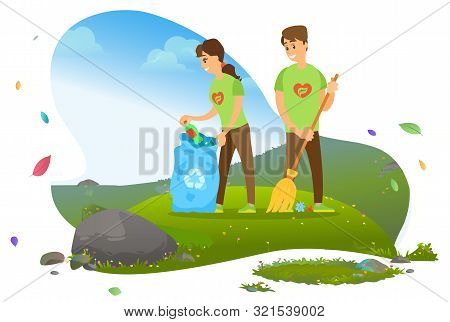 Ecology And Environment, Man And Woman, Collecting Garbage In Recycling Pin Vector. Rubbish And Litt