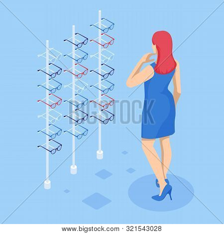 Isometric Showcase With Glasses In Modern Optic Store. A Woman Chooses Glasses To Improve Vision In