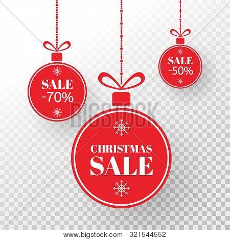 Christmas Label. Red Xmas Balls With Sign Sale, Special Offer. Merry Christmas And New Year Balls Sa