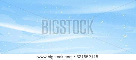 Snow Blizzard Nature Texture Illustration Background, Extreme Weather Conditions With Cold Wind And