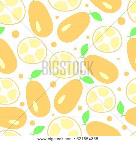 Kumquat Citrus Seamless Pattern, Vector Illustration Background